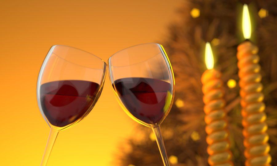 dwa kieliszki z czerwonym winem